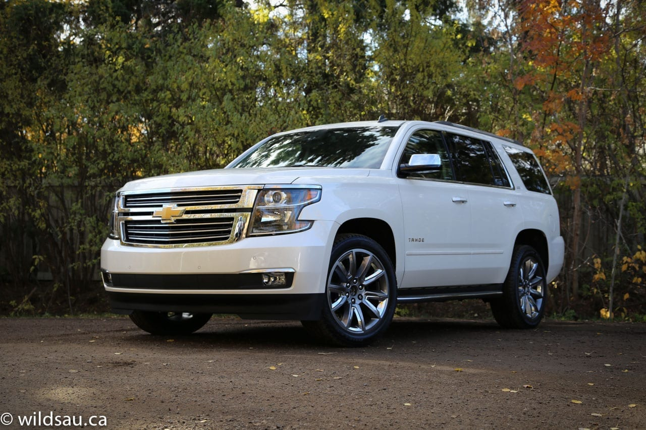 Review 2015 Chevrolet Tahoe Chevy Rear Front Quarter Angled 1 Pricing