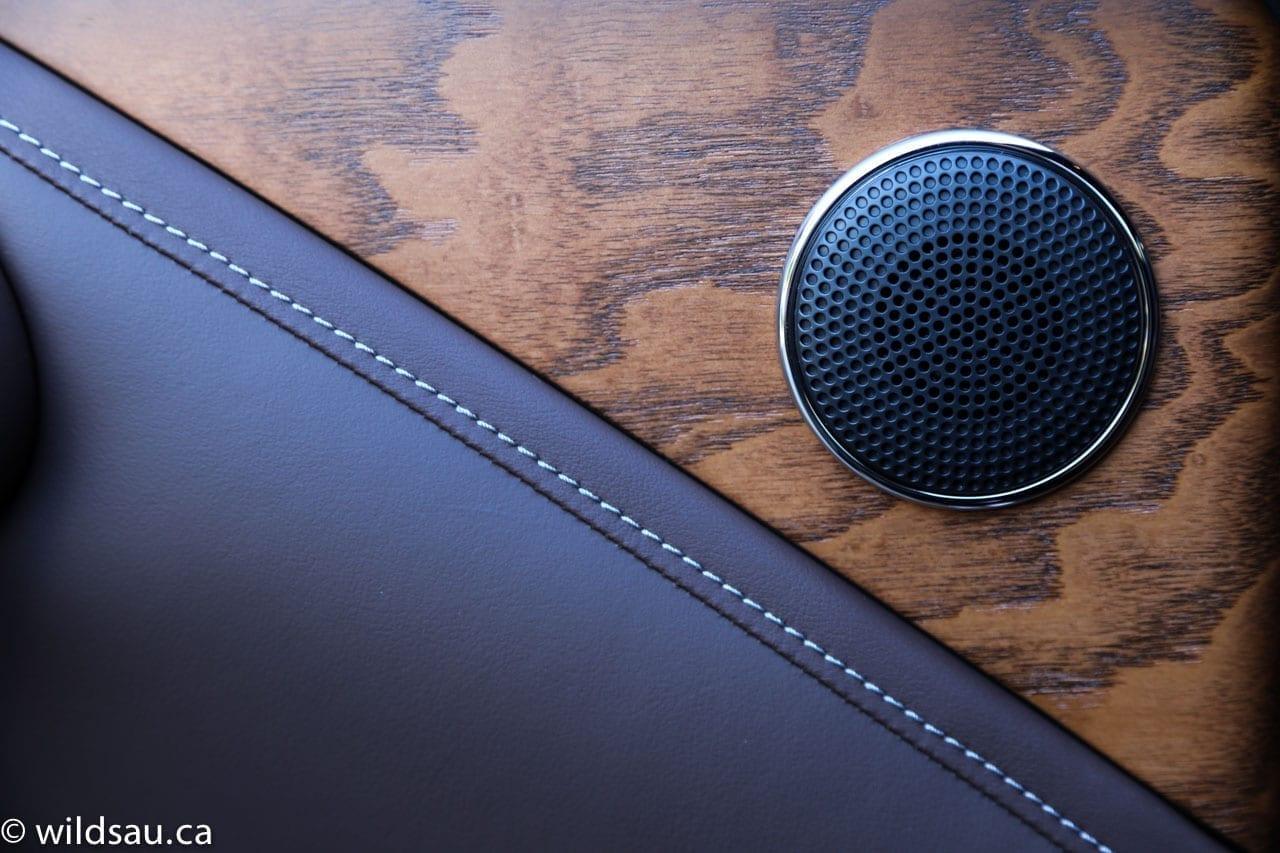 wood speaker grille detail